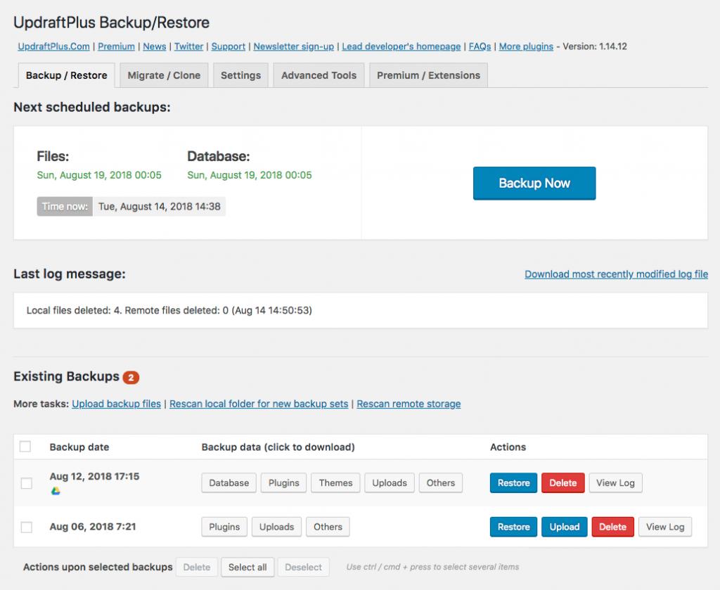 UpdraftPlus Backup/Restore Screenshot