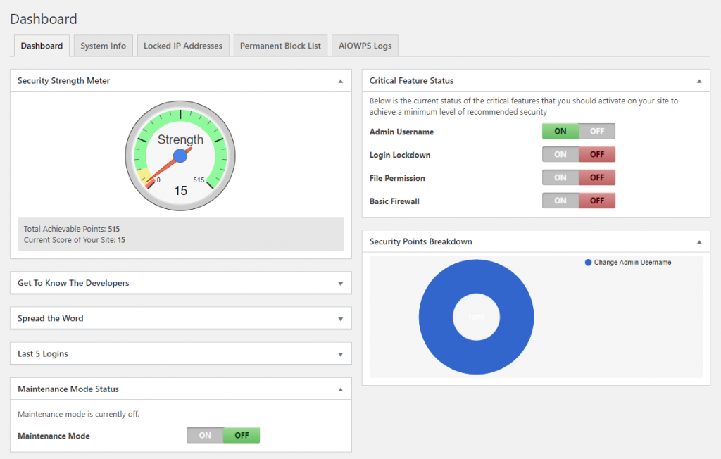 The dashboard of All In One WP Security & Firewall