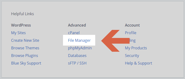 File Manager link straight from the dashboard