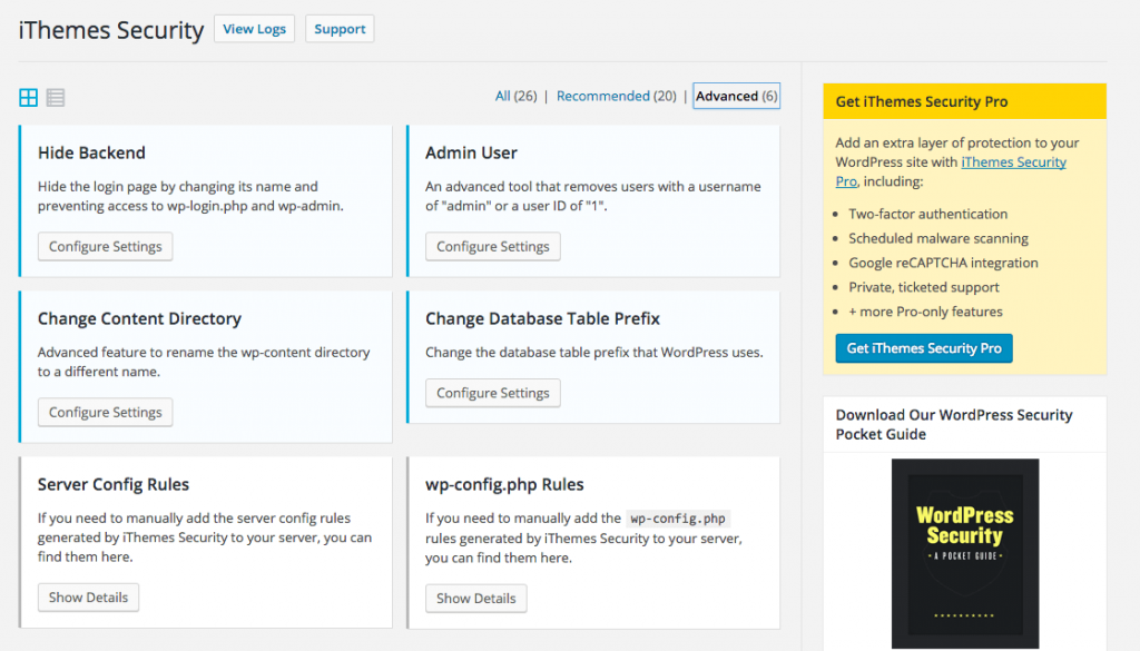 The dashboard of iThemes Security plugin
