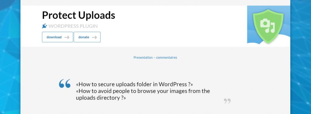 The Protect Uploads WordPress plugin