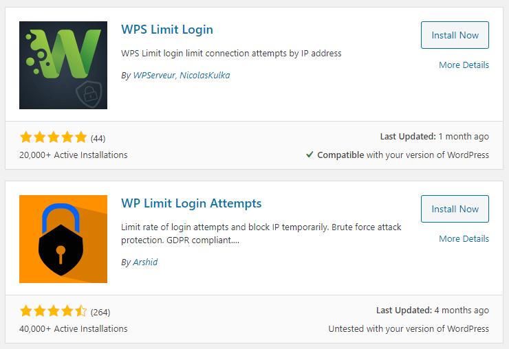 Limit login plugins on WordPress