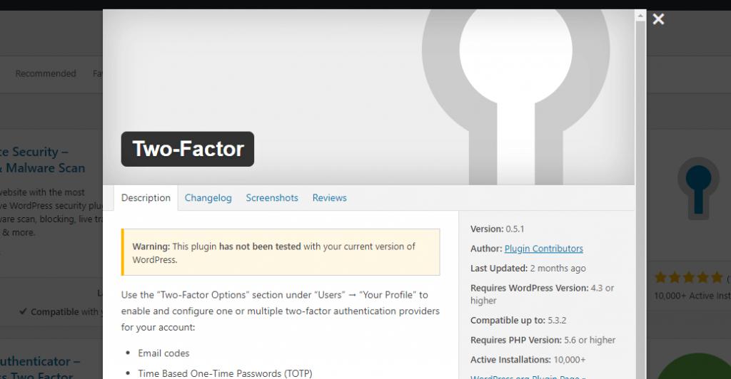 The Two-Factor plugin on WordPress