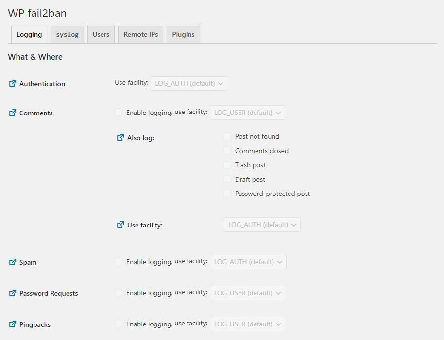 How the settings of WP fail2ban looks like