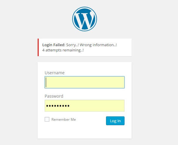 What happens when a user enters incorrect credentials