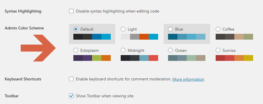How to change the admin color scheme of WordPress?