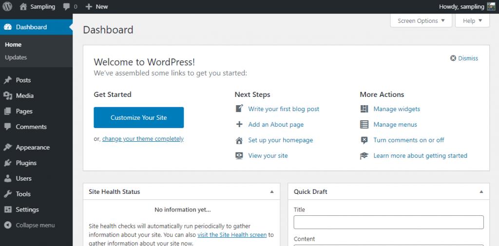 How the WordPress admin dashboard looks like