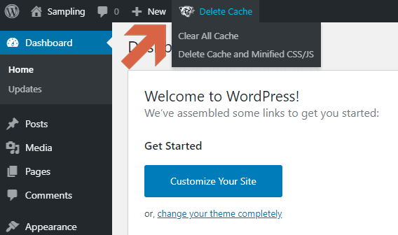 Delete Cache with the WP Fastest Cache from the admin top bar