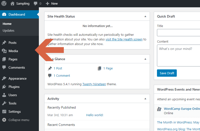 What are the WordPress functions accessible from the admin dashboard?