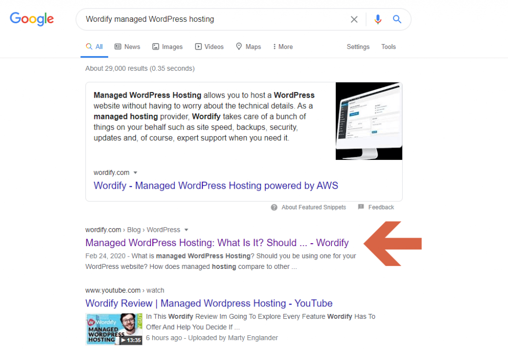 """Wordify managed WordPress hosting"" Google search results"