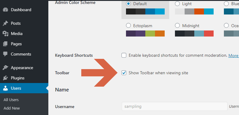How to hide or show the toolbar when viewing the site?