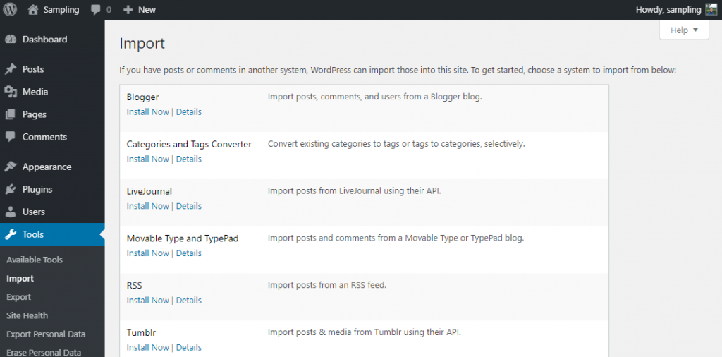 Import section of WP admin