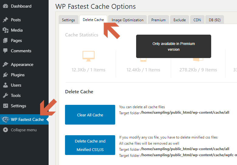 Delete Cache with the WP Fastest Cache from the options