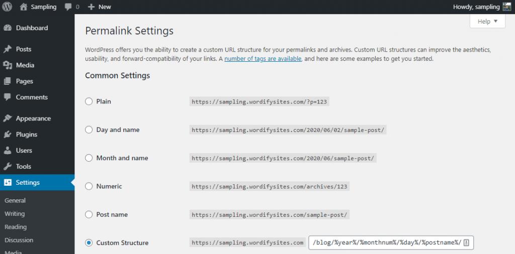 Permalink settings of WP admin