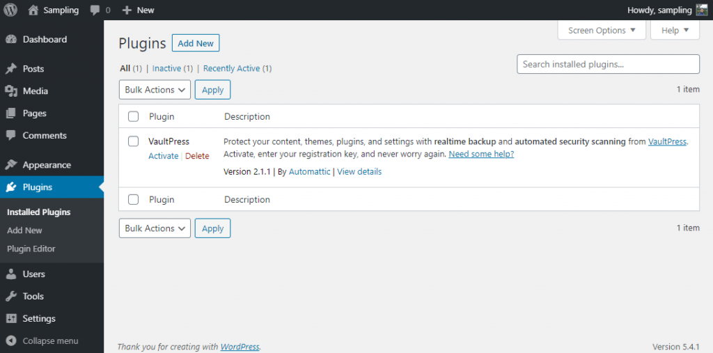 Plugins section of WP admin