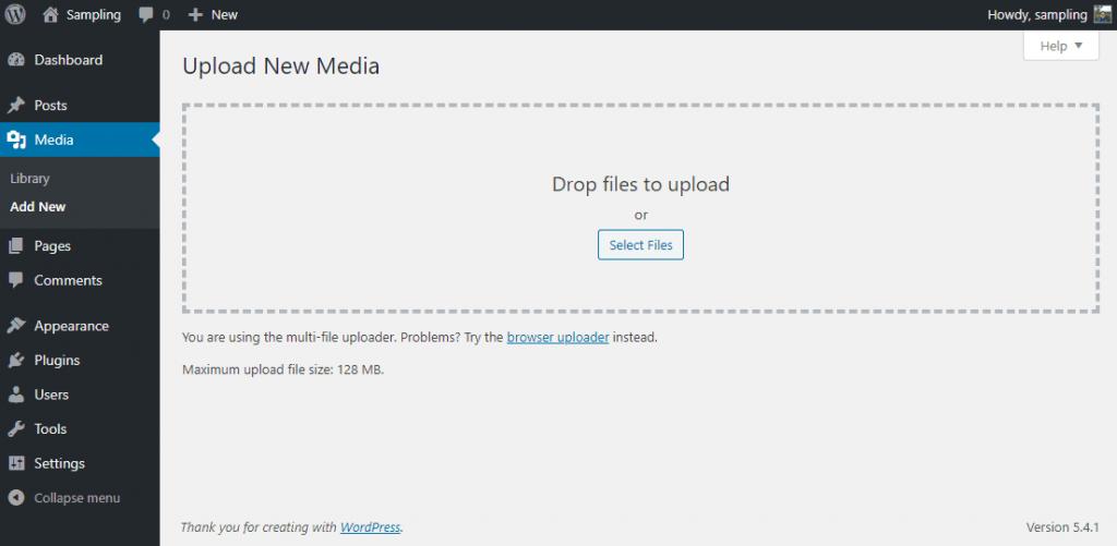 Uploading new media section of WP admin