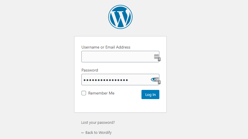 Login page of a WordPress website