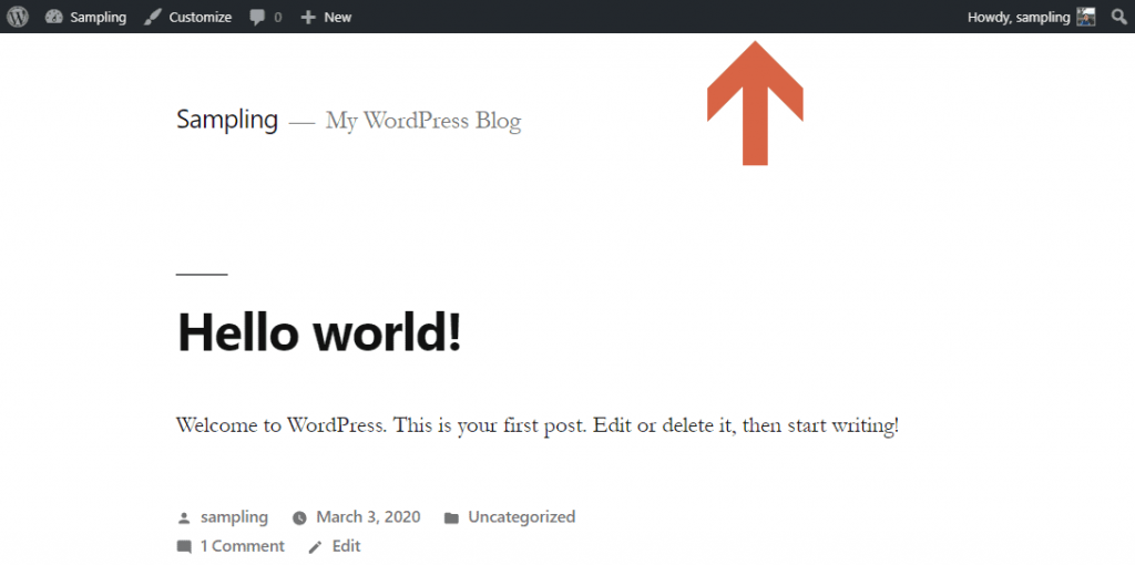 How does the WP toolbar look on a live site?