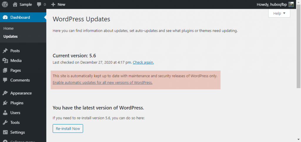 How to enable automatic core updates for all new versions of WordPress