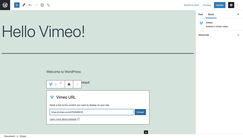 Add Vimeo URL to Vimeo Block