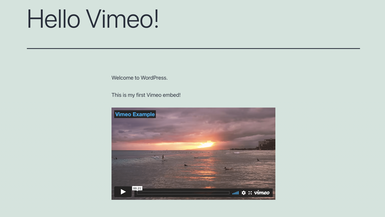 Vimeo video uploaded to WordPress